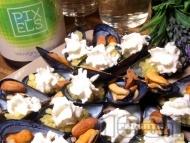 Рецепта Десерт с миди в черупка, ябълки и бадеми